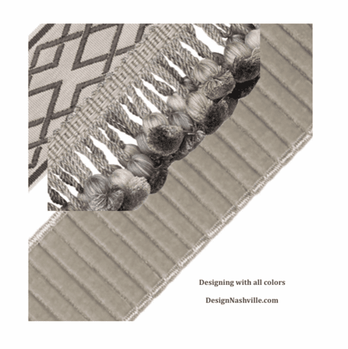Grey trims for draperies and bedding
