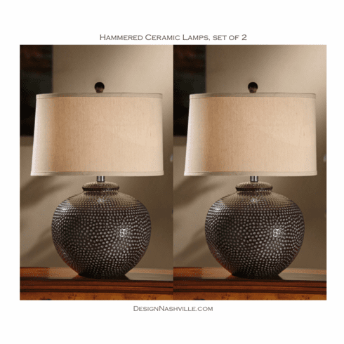 Hammered Ceramic Lamps, set of 2