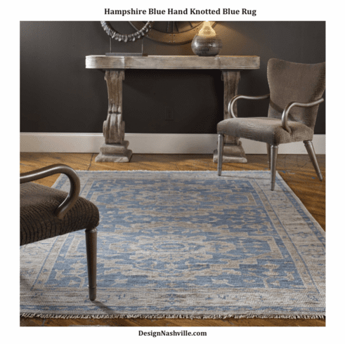 Hampshire Blue Hand Knotted Wool Rug 8x10