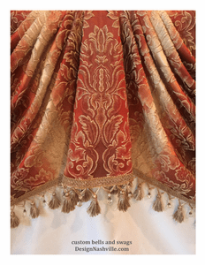 Hand cut drapery treatments to place <br>fabric patterns