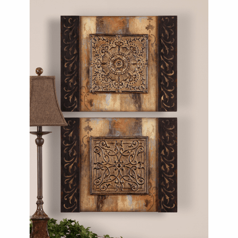 Heralding Medallion Blocks Wall Decor set of 2