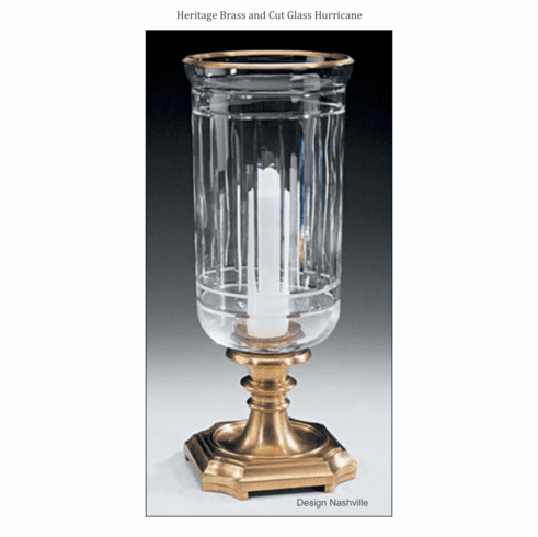 Heritage Brass and Cut Glass Hurricane