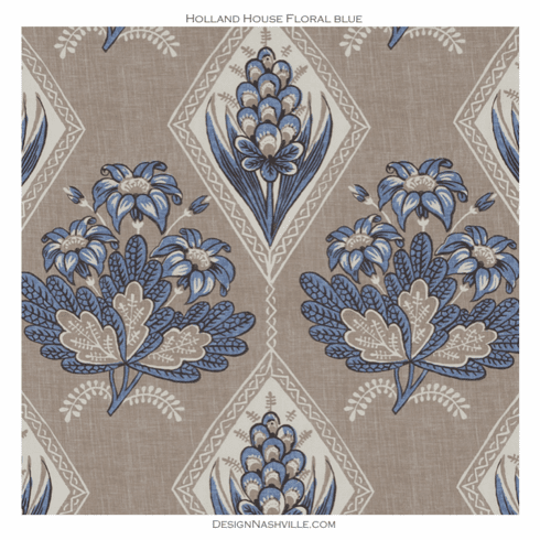 Holland House Floral Fabric blue