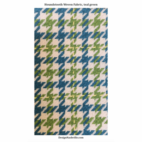 Houndstooth Woven Fabric, teal