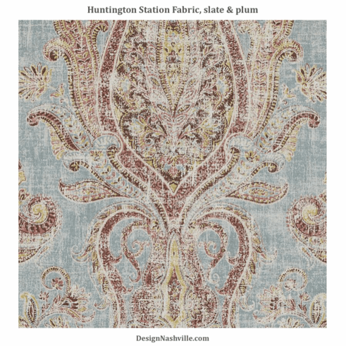 Huntington Station Fabric, blue and plum