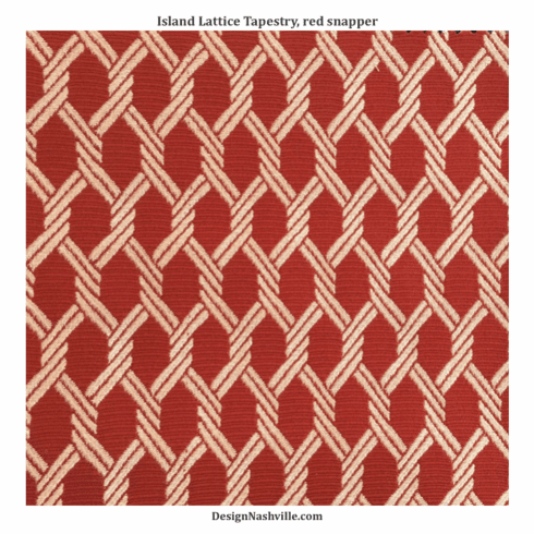 Island Lattice Tapestry Fabric, <br>red snapper