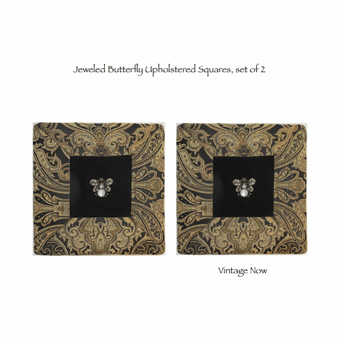 Jeweled Butterfly Upholstered wall or table decor, set of 2