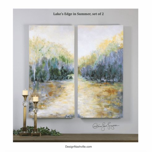 Lake's Edge in Summer Canvas Art, set of 2
