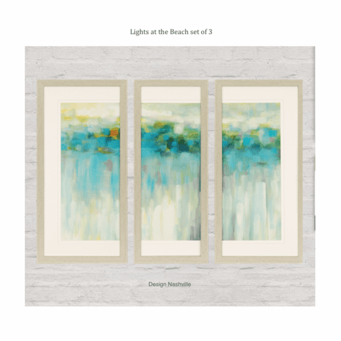 Lights at the Beach, framed art set of 3