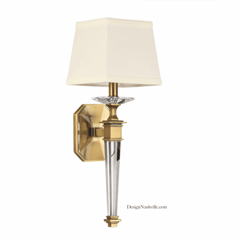 Lysander Crystal and Brass Sconce