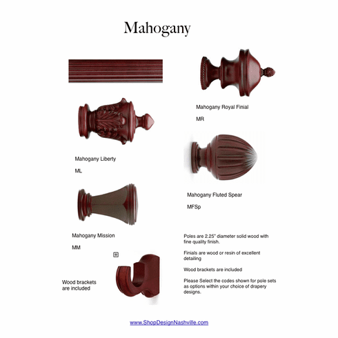 Mahogany Wood Drapery Pole Set
