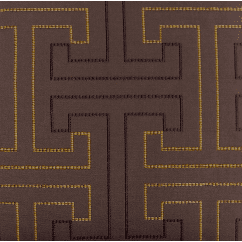 Mandarin Grid Embroidered Fabric, color chocolate