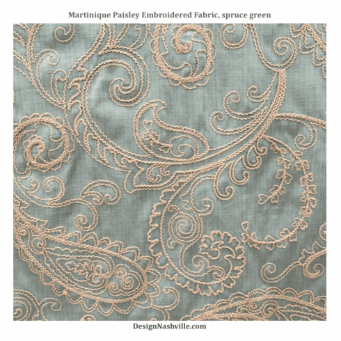 Martinique Embroidered Paisley Fabric, spruce