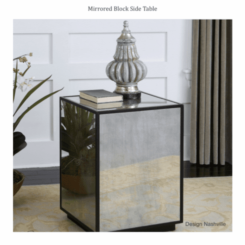 Mirrored Block Side Table