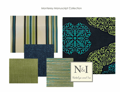 Monterey Manuscript Bedding and Drapery Collection, teal and lime