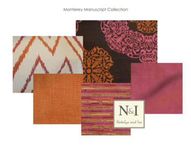 Monterey Manuscript Bedding and Drapery Collection, pink orange