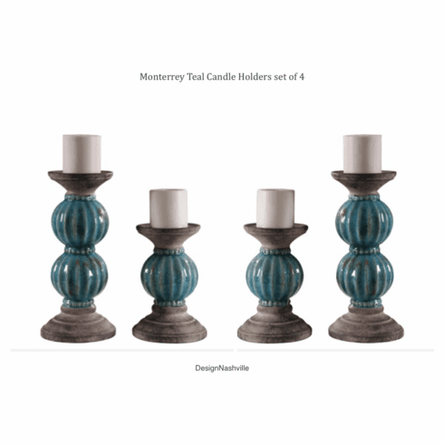Monterrey Teal Candle Holders set of 4