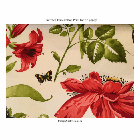 Natchez Trace Cotton Print Fabric, <br>poppy red