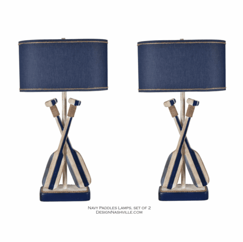 Navy Blue Paddles Set of 2 Lamps