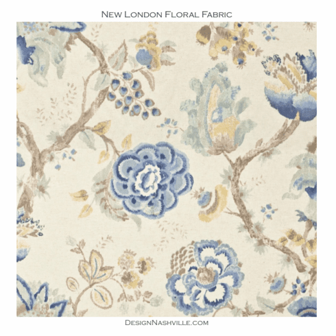 New London Floral Fabric blue