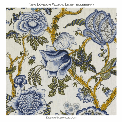 New London Floral Linen, blueberry