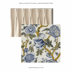 New London Floral Linen Drapery <br>blueberry