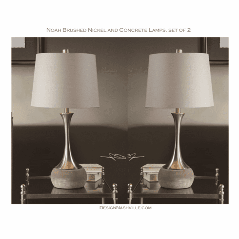 Noah Concrete and Nickel Lamps <br>set of 2