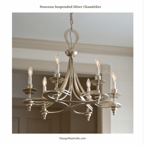 Nouveau Suspension Silver Chandelier