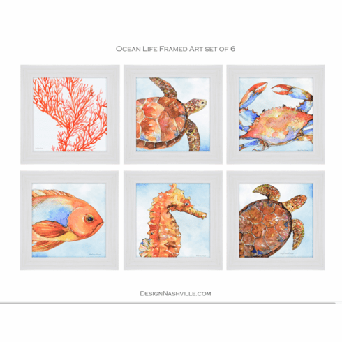Ocean Life Framed Art set of 6