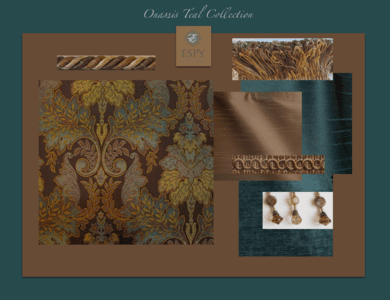 Onassis Teal Opulent Bedding and Drapery Collection