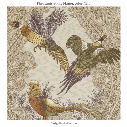 Pheasants at the Manor Fabric, field