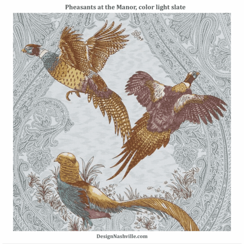 Pheasants at the Manor Fabric, light<br> slate