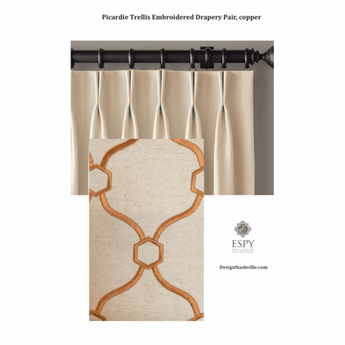 Picardie Trellis Copper Embroidered <br>Drapery, deluxe fullness