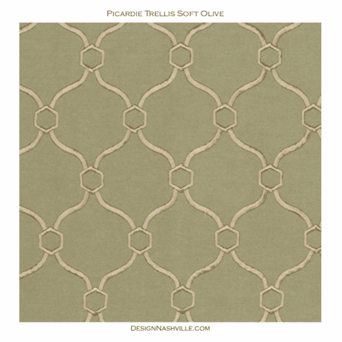 Picardie Trellis Embroidered Fabric <br>Soft Olive