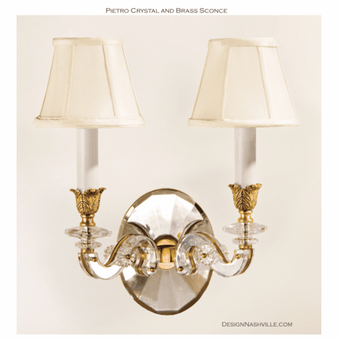 Pietro Crystal and Brass Light Sconce