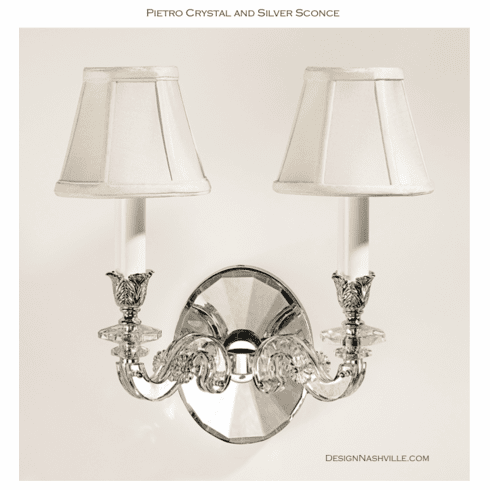 Pietro Crystal and Silver Sconce
