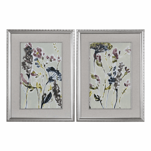 Purple Shadow Wildflowers Framed Art, set of 2