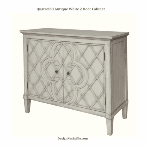 Quatrefoil Antique White 2 Door <br>Cabinet