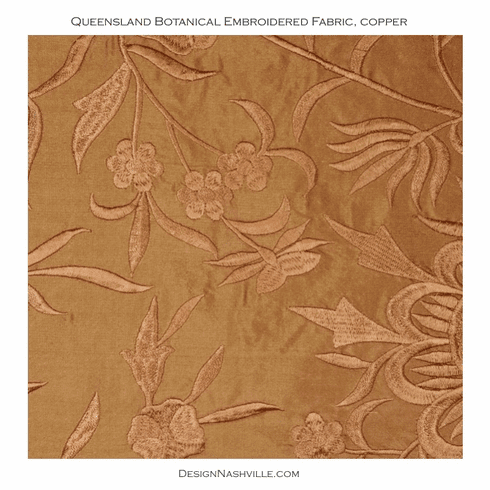 Queensland Botanical Embroidered Silk, copper