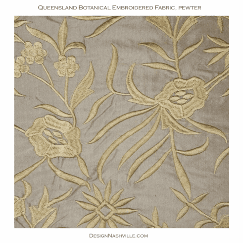 Queensland Embroidered Botanical Silk, pewter