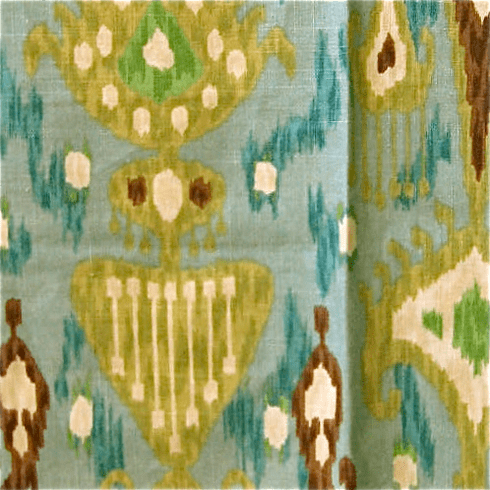 Rain Shower Ikat Fabric, blue green