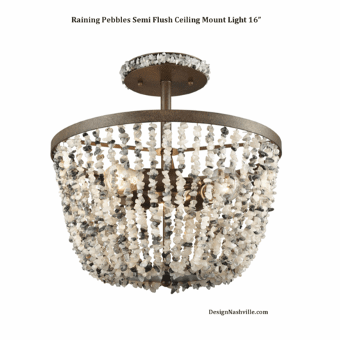 Raining Pebbles Semi Flush Ceiling Mount Light 16""