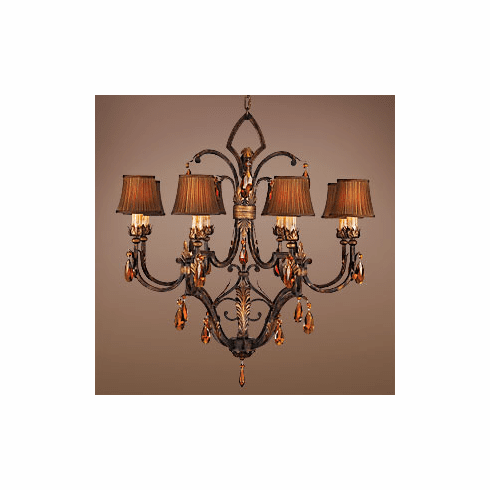 Raleigh Amber Crystal Chandelier, 8 light