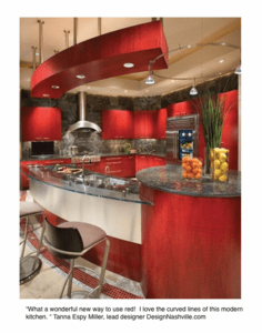 Red and chrome modern kitchen