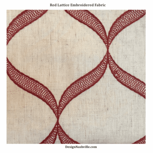 Red Lattice Embroidered Fabric