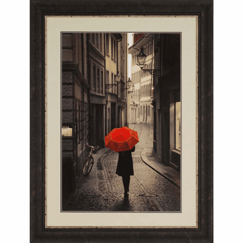Red Umbrella in the City framed art