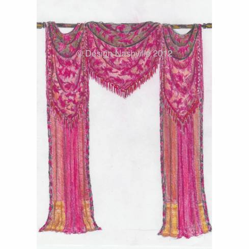 Regal Jabot/ Swags on Pole with contrasting sections