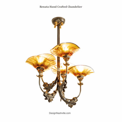 Renata Hand Crafted Chandelier, red or amber