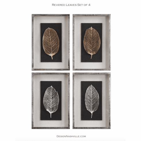 Revered Leaves Framed Art set of 4