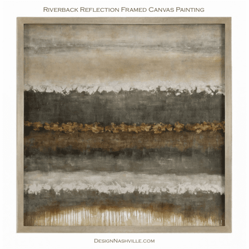 Riverbank Reflections Framed Canvas Painting
